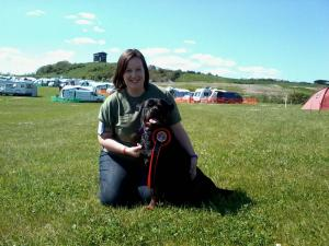 Magic and I with our Obedience award at Walridge Fell show.